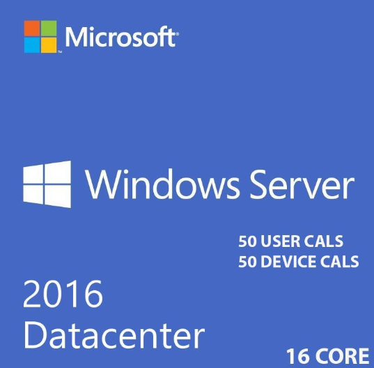 Microsoft Windows Server 2016 Datacenter 64 bit 16 core With 50 User Rds Cals + 50 Device Rds Cals